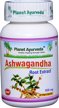 Ashwagandha Capsules Planet Ayurveda 500 mg standardised extract